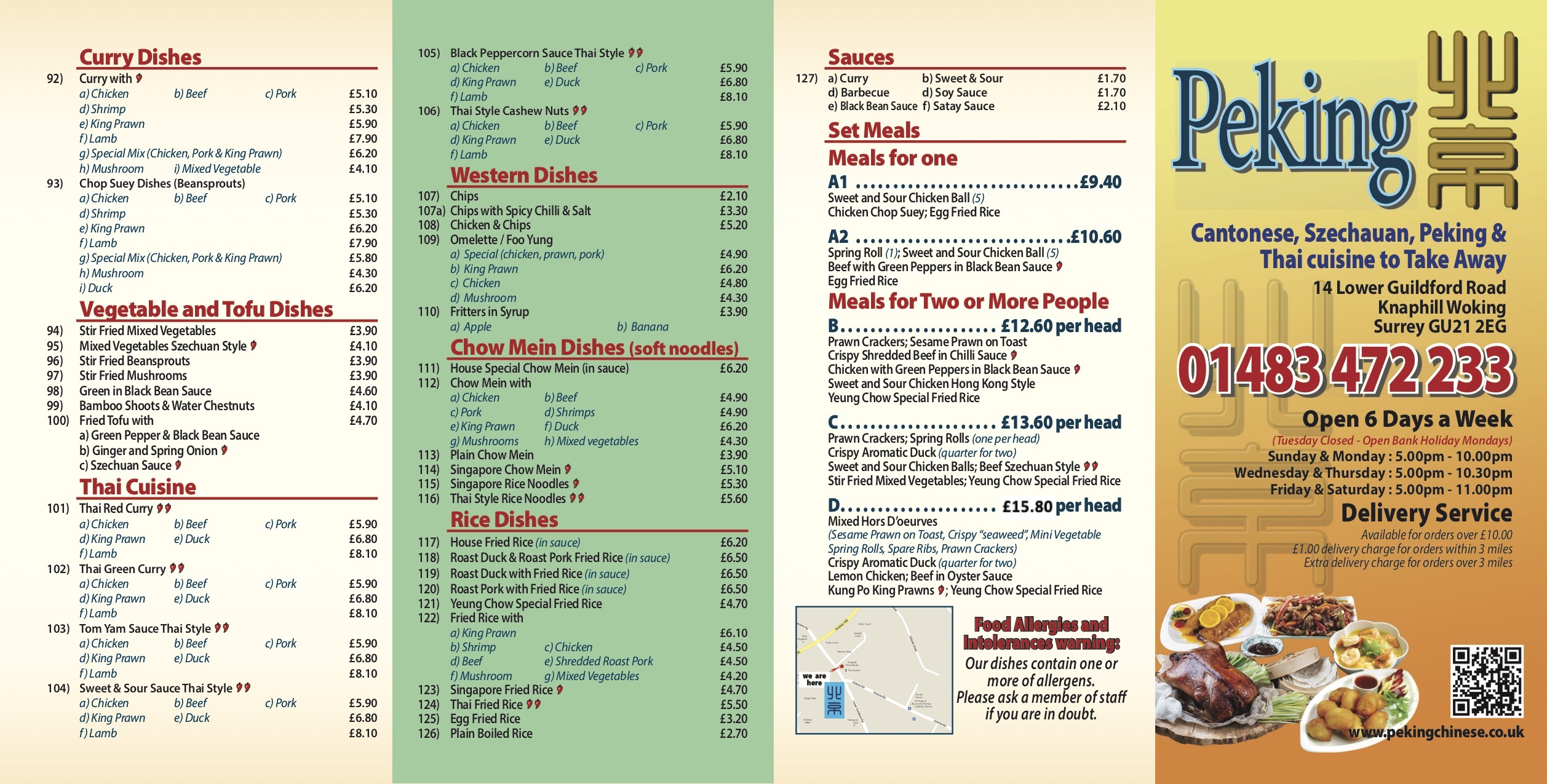 Peking Take Away Menu Page One